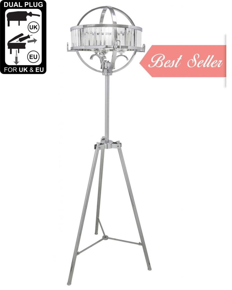Hollywood Chrome & Crystal  Floor Lamp With Clear And Chrome Drum Shade