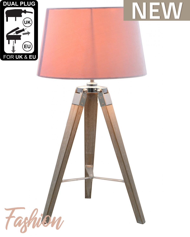 Medium Wood Tripod Table Lamp With Pink Shade