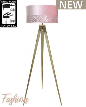 Hollywood Gold Large Floor Lamp With Pink Shade
