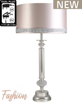 Glitz and Nickel Candlestick table lamp includin19-inch pink blush cylinder lamp shade with a Milano glitter band