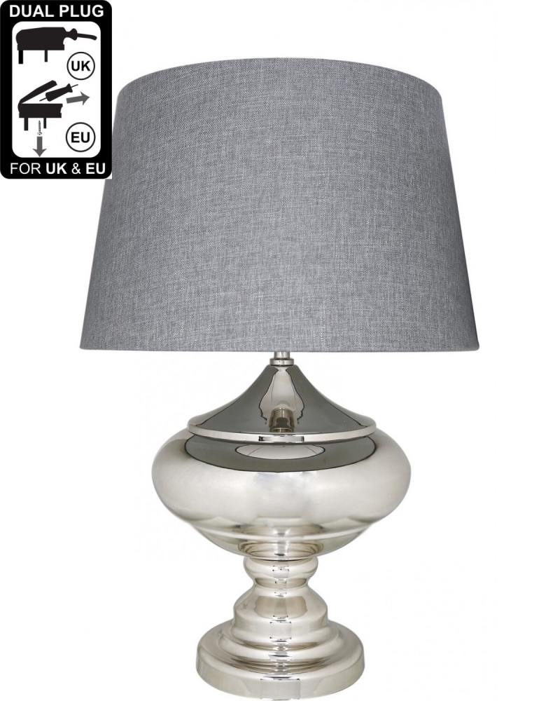 Silver Chrome Glass Statement Table Lamp With Grey Shade
