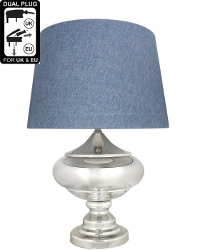 Silver Chrome Glass Statement Table Lamp With Blue Shade
