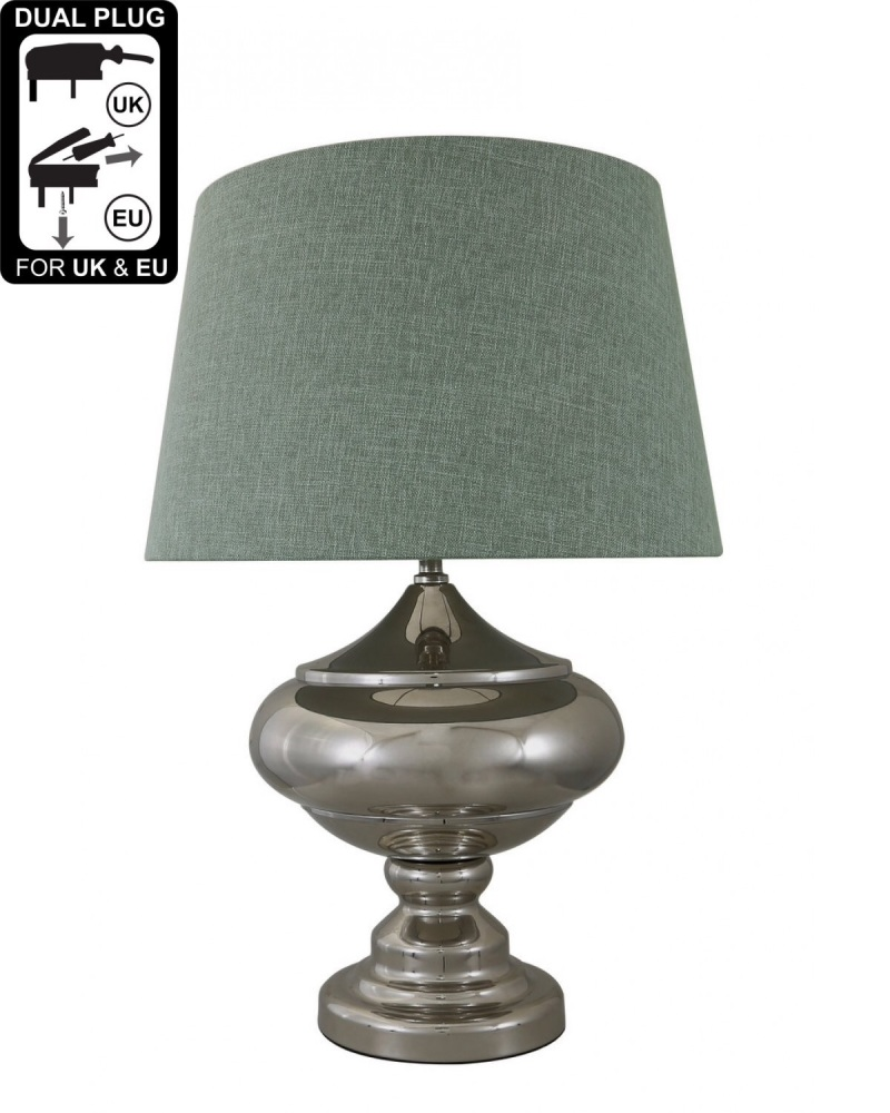 Silver Chrome Glass Statement Table Lamp With Duck Egg Shade