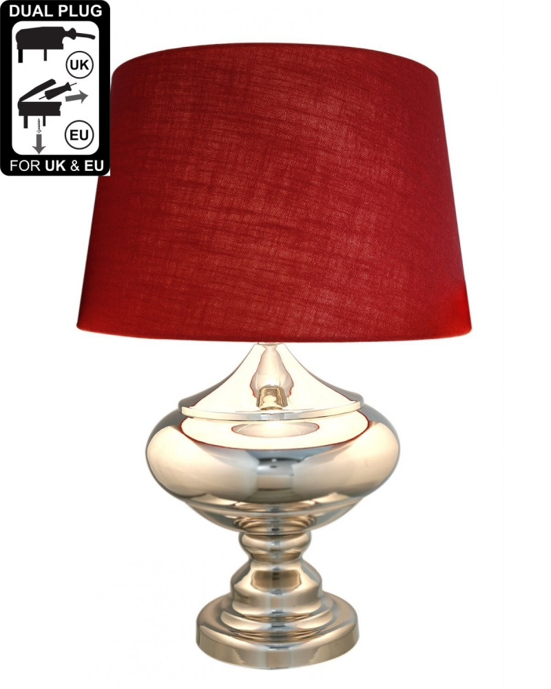Silver Chrome Glass Statement Table Lamp With Red Shade