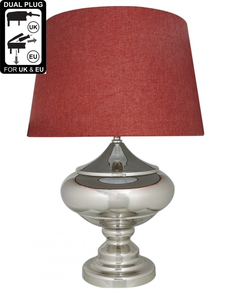Silver Chrome Glass Statement Table Lamp With Teracotta Shade