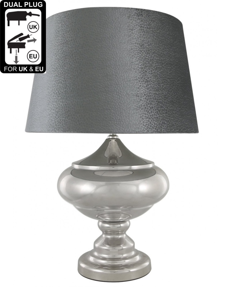 Silver Chrome Glass Statement Table Lamp With Grey Empire Shade