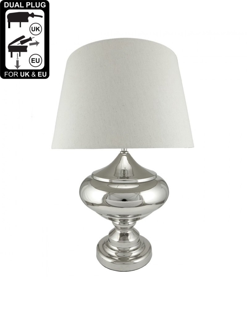 Silver Chrome Glass Statement Table Lamp With Natural Shade