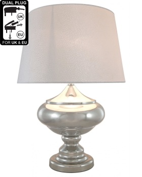 Silver Chrome Glass Statement Table Lamp With White Shade