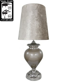 Regency Taupe Pearl  Statement Lamp With Taupe Crocodile Shade