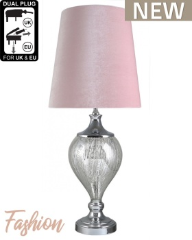 Regency Medium Chrome Glass Statement Lamp With Pink Shade