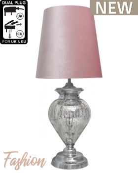Regency Large Chrome Glass Statement Lamp With Pink Shade