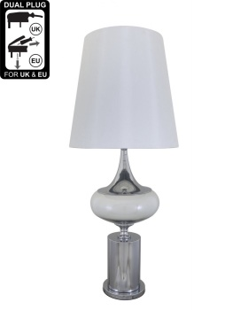 Chrome And Glass Podium Statement Table Lamp With White Shade