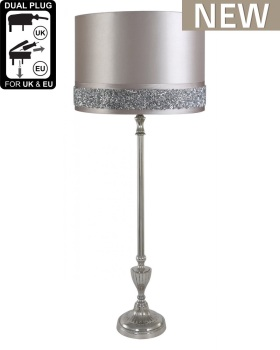 Nickel medium Candlestick With Silver Shade