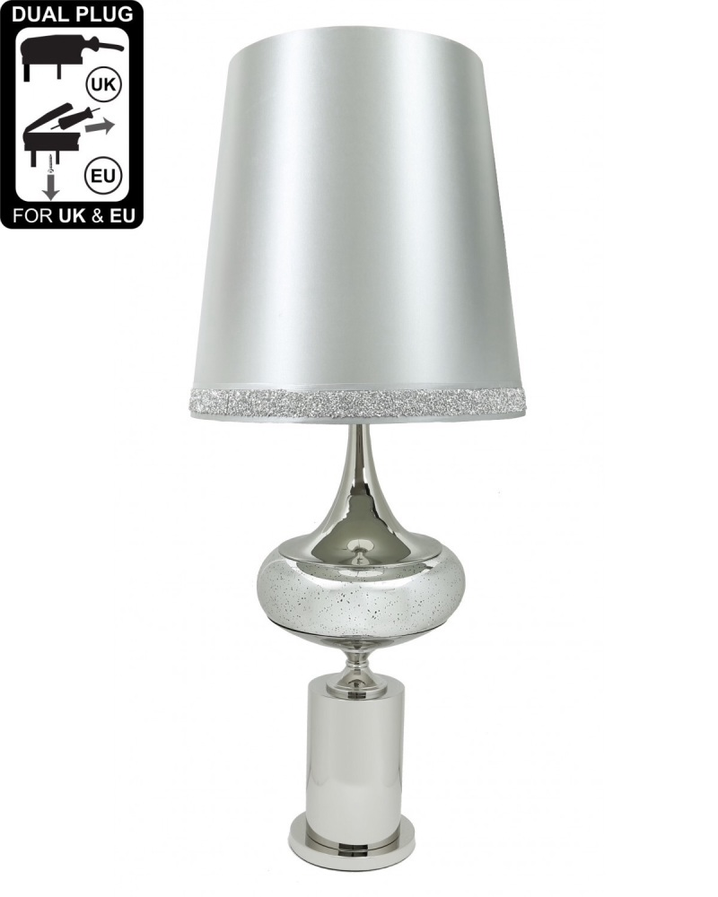 Chrome And Glass Podium Statement Table Lamp With Silver Shade
