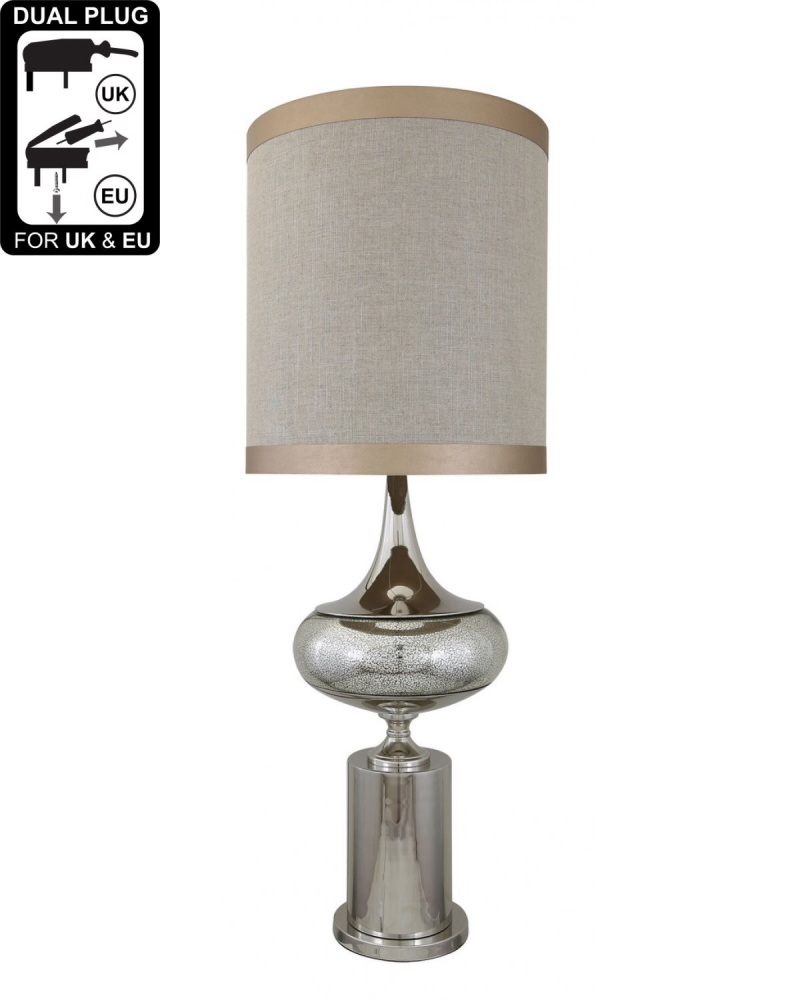 Chrome And Glass Podium Statement Table Lamp With Linen Beige Shade