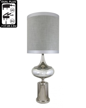 Chrome And Glass Podium Statement Table Lamp With Grey linen Shade