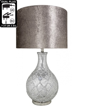 Silver Mercury Lamp with a quatrefoil patterned base, and an 18 inch Taupe Cylinder Shade
