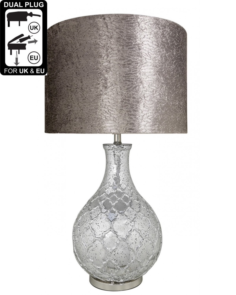 Silver Mercury Lamp with a quatrefoil patterned base, and an 18 inch Taupe