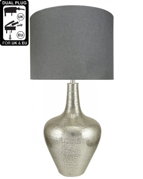 Nickel Bottle Table Lamp With 19 Inch Grey Shade