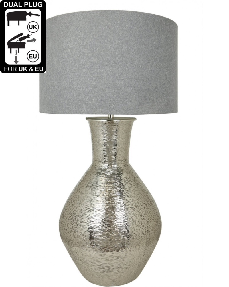 Nickel Olpe Floor Lamp With A 24 Inch Grey Linen Drum Shade