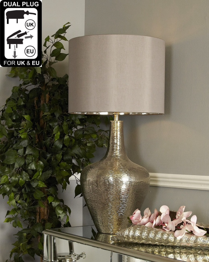 Nickel Bottle Table Lamp With Taupe Shade