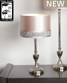 Nickel small Candlestick Table Lamp With Pink Milano Shade