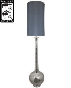 Nickel Elongated Gourd Floor Lamp With A 13 Inch Taupe Faux Silk Cylinder Shade
