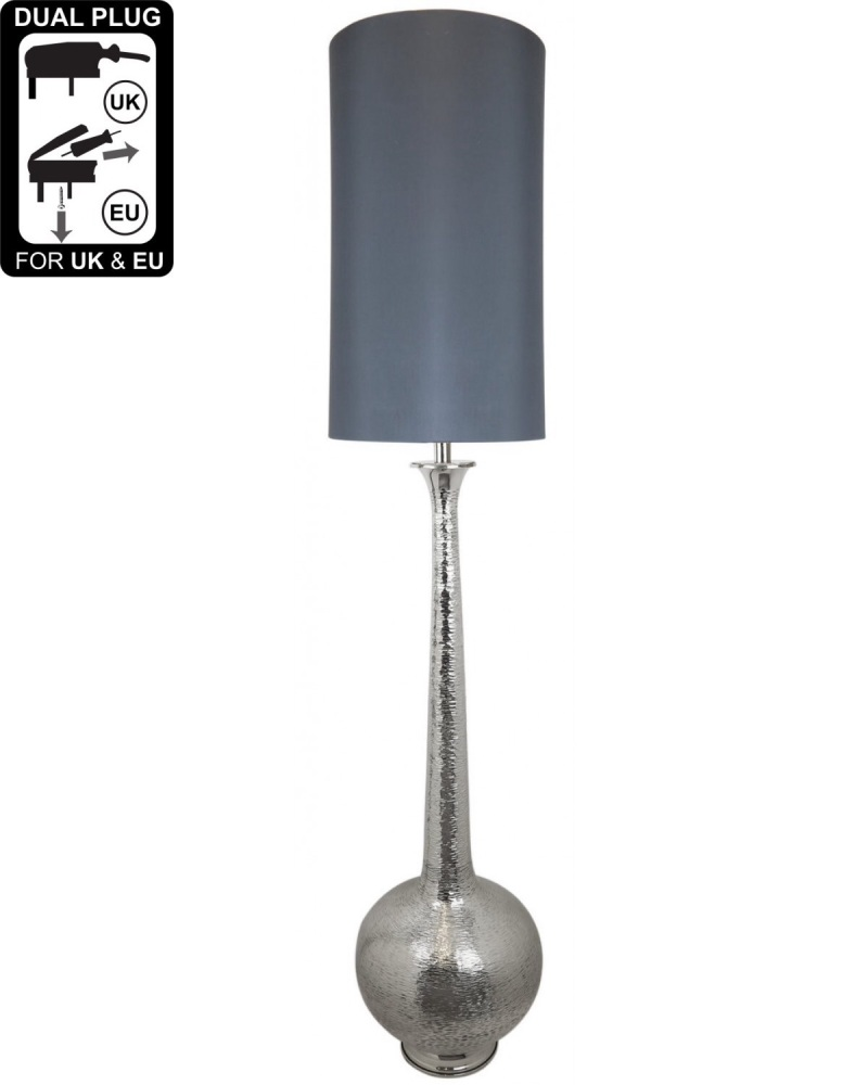 Nickel Elongated Gourd Floor Lamp With A 13 Inch Taupe Faux Silk Cylinder S