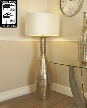 Nickel Elongated Amphora Floor Lamp With A 24 Inch Natural Linen Drum Shade