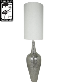 Nickel Elongated Bottle Table Lamp With Natural Linen Shade