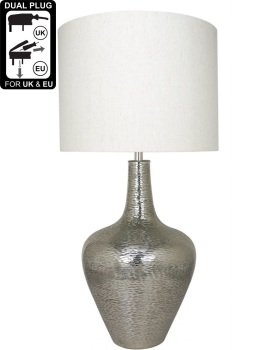 Nickel Bottle Table Lamp With A 19 Inch Natural Shade