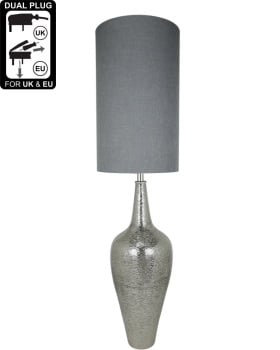 Nickel Elongated Bottle Table Lamp With Grey Shade