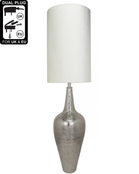 Nickel Elongated Bottle Table Lamp With White Crocodile Shade