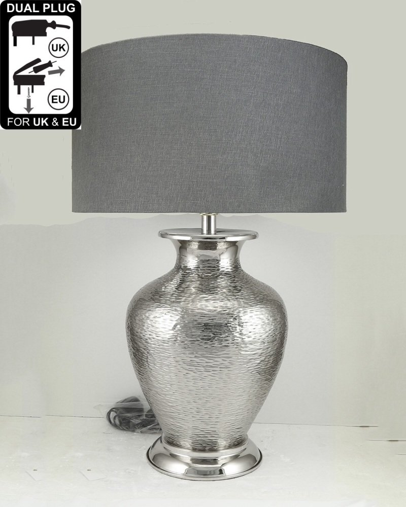 Nickel Amphora Table Lamp With Grey Shade
