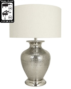 Nickel Amphora Table Lamp With White Shade