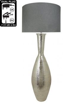 Nickel Elongated Amphora Floor Lamp With A 24 Inch Grey Linen Drum Shade