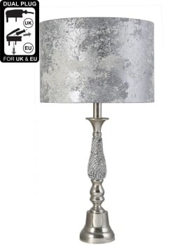 Nickel Small Diamante Candlestick Table Lamp With Marble Grey Shade