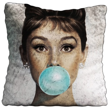 Luxury Feather Filled Cushion Audrey Hepburn Blue Bubble