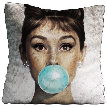 Luxury Feather Filled Cushion Audrey Hepburn Blue Bubble