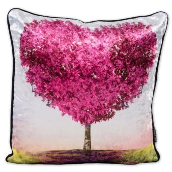 Luxury Feather Filled Cushion Tree of Love in Pink
