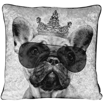 Luxury Feather Filled Cushion Bull Dog in Sunglasses