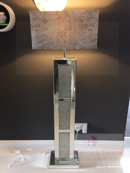 ^Crush Sparkle Mirrored Tall Floor Lamp now with Grey Shade