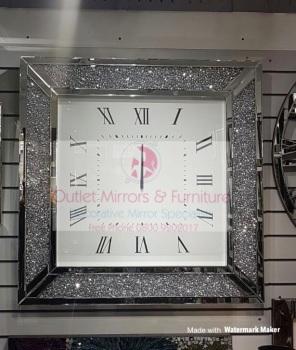 * New Diamond Crush Sparkle large crystal Mirrored Clock 100cm x100cm