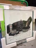 Mirror framed art print Bejewelled Shoe & Jewellery