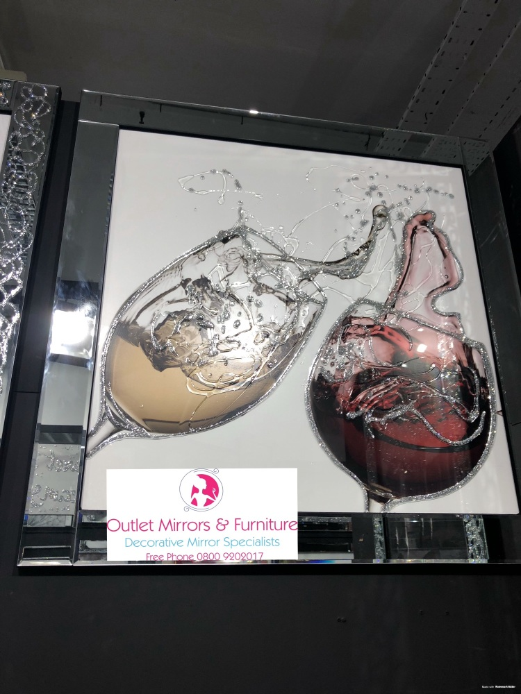 Mirror framed art print Wine Glasses