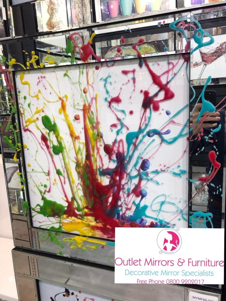 Mirror framed Liquid art Colour Splash 60cm x 60cm