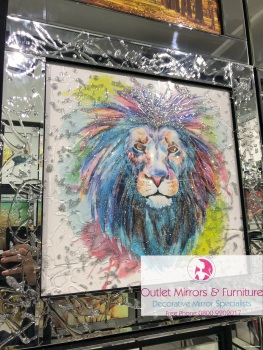 Mirror framed Liquid art Colourful Lion 2 60cm x 60cm