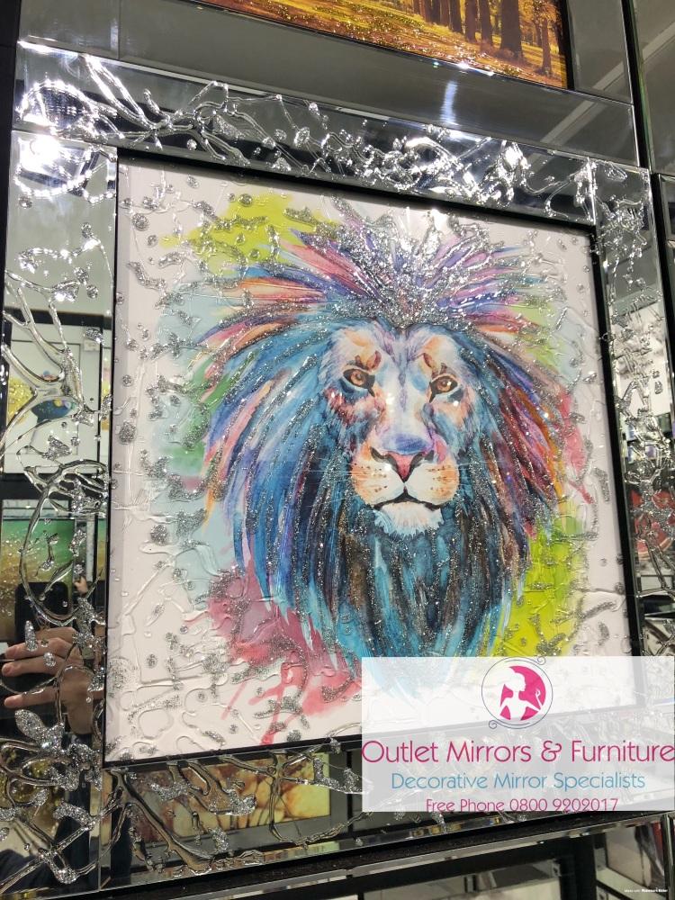 Mirror framed Liquid art Colourful Lion 2 60cm x 60cm