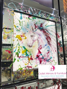 Mirror framed Liquid art Colourful Unicorn  60cm x 60cm