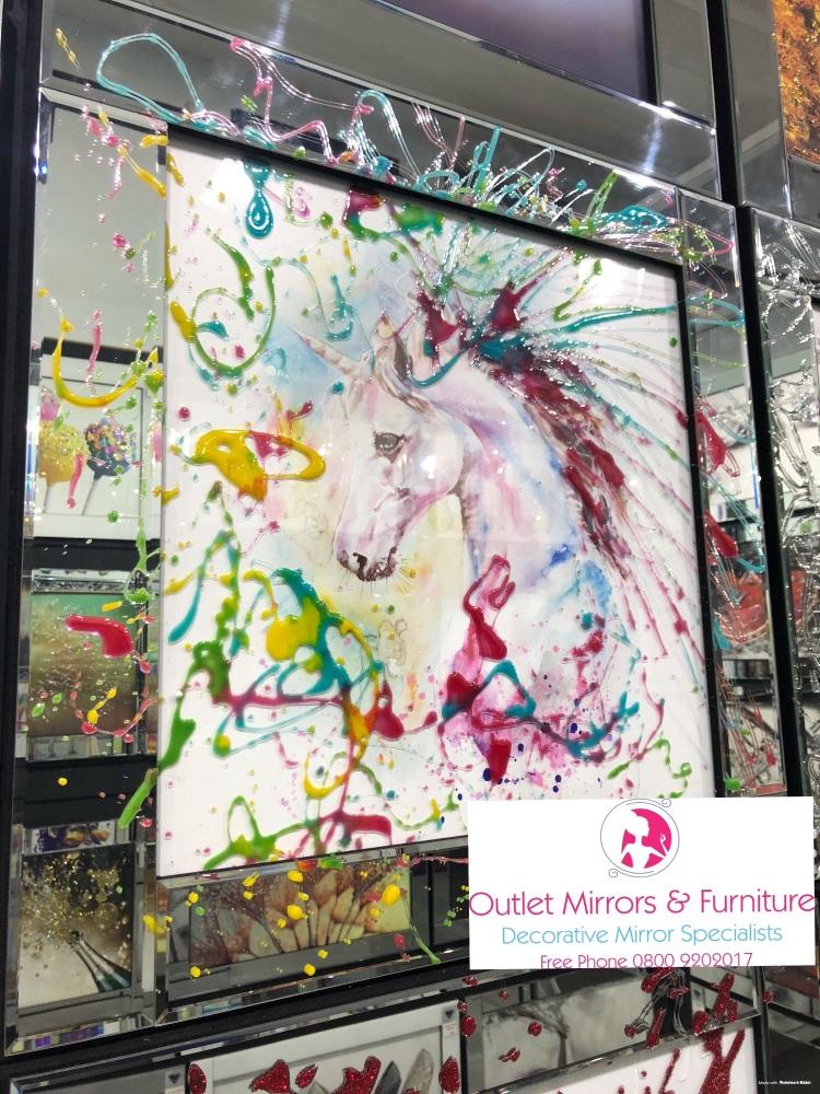 Mirror framed Liquid art Colourful Unicorn  60cm x 60cm